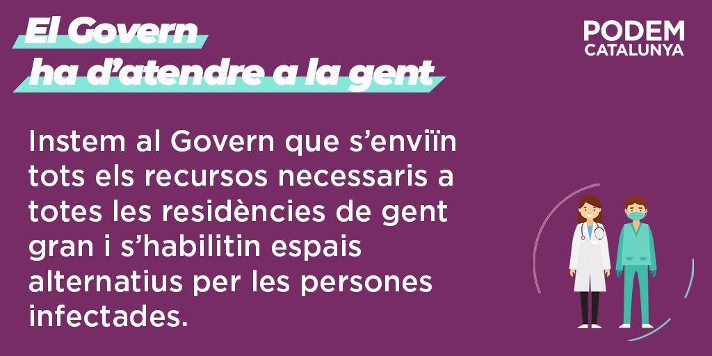 Podem Catalunya demana al Govern que es facilitin els recursos necessaris a les residències de gent gran i la retirada de la recomanació d'evitar els ingressos a les UCIs de pacients de més de 80 anys